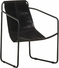YOUTHUP Relaxing Armchair Black Real Leather