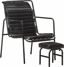 YOUTHUP Relaxing Armchair with a Footrest Black