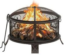 YOUTHUP Rustic Fire Pit with Poker 67.5 cm XXL