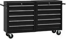 Youthup - Tool Trolley with 10 Drawers Steel Black