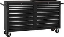 Youthup - Tool Trolley with 14 Drawers Steel Black