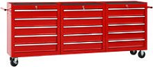 Youthup - Tool Trolley with 15 Drawers Steel Red