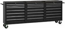 Youthup - Tool Trolley with 21 Drawers Steel Black