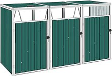 Youthup - Triple Garbage Bin Shed Green 213x81x121
