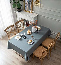 YOUZI Blue gray cotton and linen table cloth Home