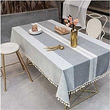 YOUZI Light gray cotton and linen table cloth Home