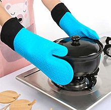 YOUZI Long blue Oven gloves Heat resistant