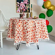 YOUZI Round tablecloth, Christmas red tablecloth