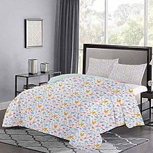 Yoyon Bedding Cover Cute Baby Bunnies Flowers and