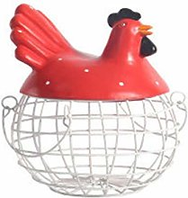 Yoyoo Egg Holder Chicken Shape Ceramics Metal Egg