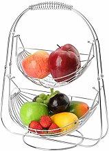 Yoyoo Fruit Basket Bowl Rack 2 Tiers Swinging