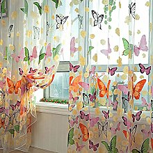YQ WHJB Butterfly Print Voile Curtain,light