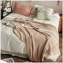 YQCX All Cotton Knitted Nordic Sofa Blanket Cover