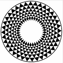 YQDSY Black White Geometric Pattern Round Carpet
