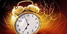 Yqgdss Oil Painting A Golden Alarm Clock
