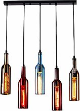 YQGOO 5-Light Vintage Industrial Colored Glass