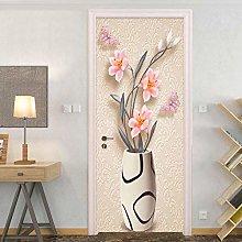 YQLKD Door Wallpaper Vase With Pink Flowers