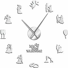 YQMJLF Wall Clocks Large DIY Frameless Lovers
