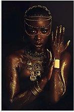 YQQICC African Woman Poster Print Wall Art Canvas