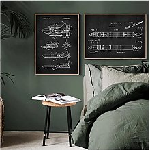 YQQICC Aviation Patent Posters Print Wall Art
