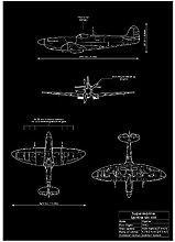 YQQICC Black White Rocket Blueprints Posters Print