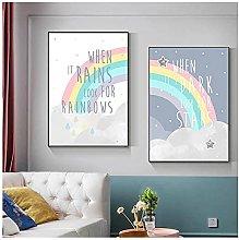 YQQICC Cartoon Rainbow Poster Print Wall Art