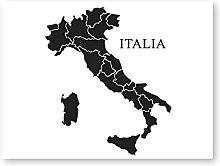 YQQICC Italia Map Black Poster Print Wall Art