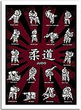 YQQICC Judo Dojo Posters Print Wall Art Canvas