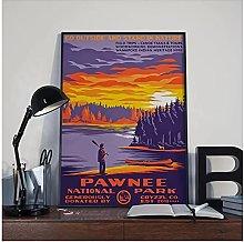 YQQICC Pawnee Park Poster Print Wall Art Canvas