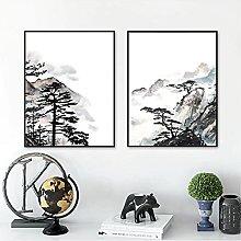 YQQICC Watercolor Landscape Zen Poster Print Wall