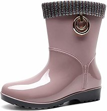 YQQMC Women's Middle Tube Warm Rain Boots