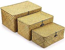 YQWYS 3-piece Woven Wicker Storage Box, Seaweed