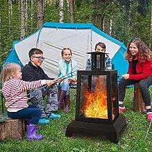 YQZ Metal Wood-Burning Enclosed Outdoor Fireplace,