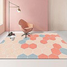 YQZS Designer Bedroom Rug Pink gradient hexagon