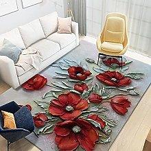 YQZS Large Household Carpet Red petal Rectangular