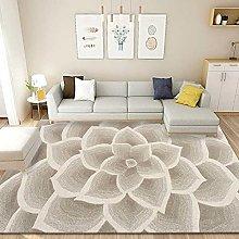 YQZS Short Velvet Living Room Carpet Beige petals