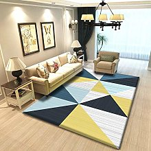 YQZS Short Velvet Living Room Carpet Blue yellow
