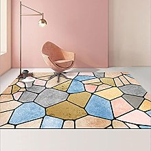 YQZS Short Velvet Living Room Carpet Pink stone