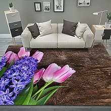 YQZS Ultra Soft Rectangle Area Rugs Flowers Large