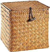 YRHH Rattan Straw Storage Basket with Lid Knob