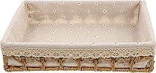 YRHH Wicker Storage Basket with Fabric Liner Weave