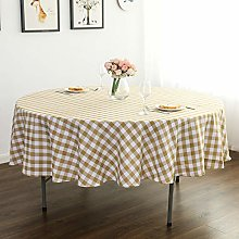 YRYIE 60 Inch Round Tablecloth Gingham Yellow