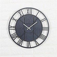 YSMLL Wooden Wall Clock Metal Non-Ticking Quartz