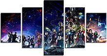 YspgArt66 Print Painting Canvas, 5 Pieces Avengers