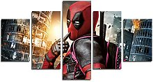 YspgArt66 Print Painting Canvas, 5 Pieces Deadpool