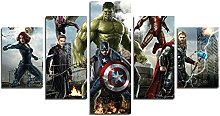 YspgArt66 Print Painting Canvas, 5 Pieces Marvel