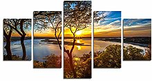 YspgArt66 Print Painting Canvas, 5 Pieces Sunset