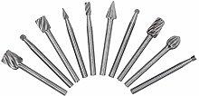 YSTCAN 10pcs Tungsten Carbide HSS Rotary Burr Set