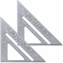 YSTCAN 2PCS 7 Inch Aluminum Alloy Triangle Ruler