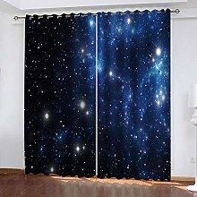YTHSFQ Blackout curtain 3D print Blue starry sky
